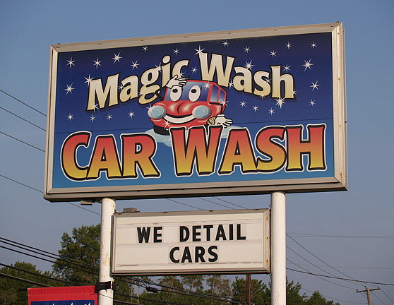 Full color translucent, backlit branding and commercial electric sign for Magic Wash Car Wash, Manahawkin, NJ