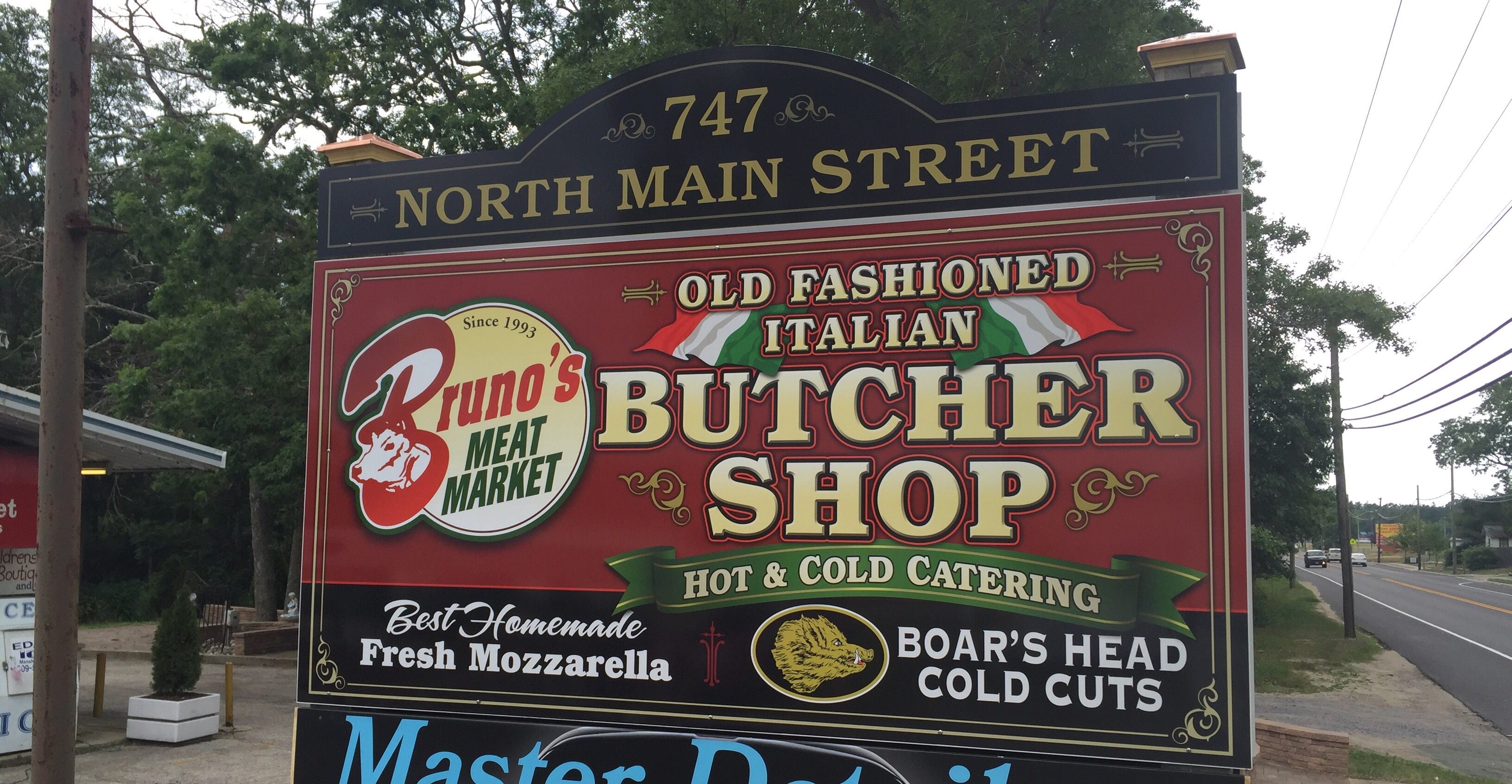 Flat panel commercial sign with digital dimensional graphics, Brunos Meat Market in Manahawkin