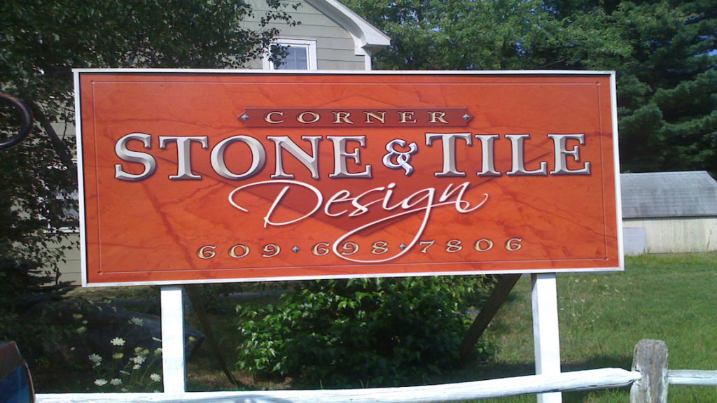 Corner Stone & Tile Design digital print 3-dimensional sign on route 72 in ocean county