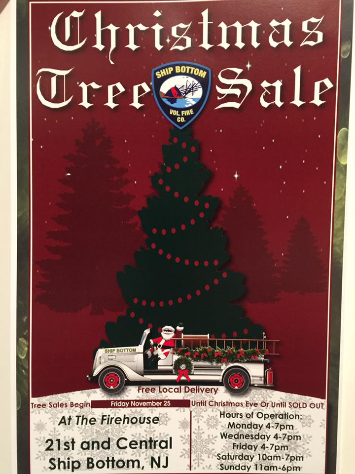 Signs to promote Ship Bottom Fire Co Christmas Tree Sale